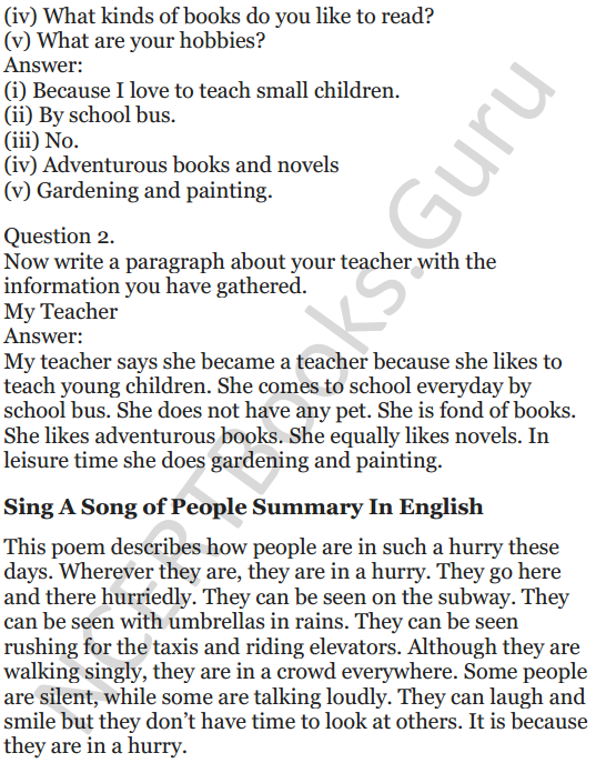 NCERT Solutions for Class 5 English Unit 9 Chapter 1 Sing A Song of People 6