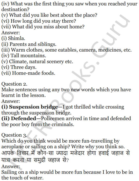 NCERT Solutions for Class 5 English Unit 9 Chapter 2 Around The World 10