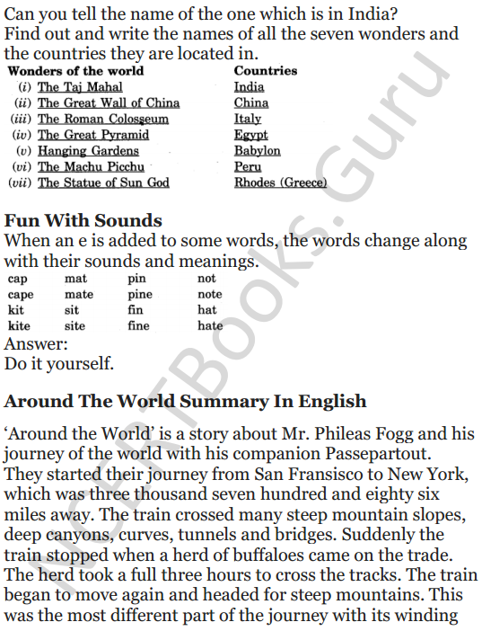 NCERT Solutions for Class 5 English Unit 9 Chapter 2 Around The World 13