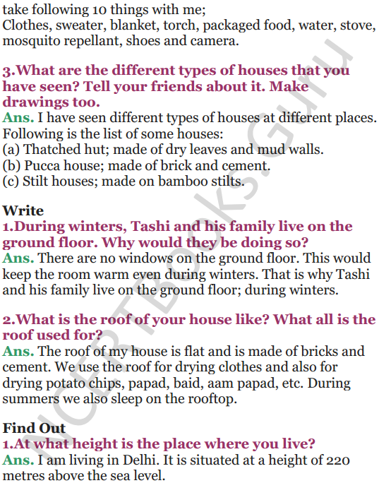 NCERT Solutions for Class 5 EVS Chapter 13 A Shelter So High 2
