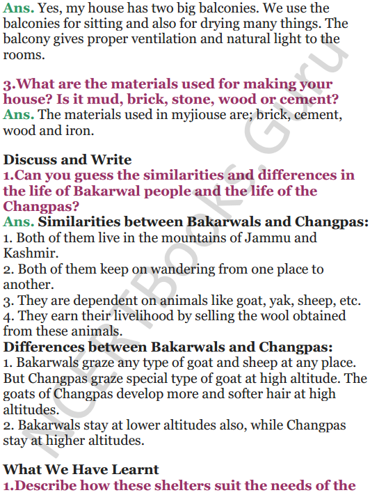 NCERT Solutions for Class 5 EVS Chapter 13 A Shelter So High 5
