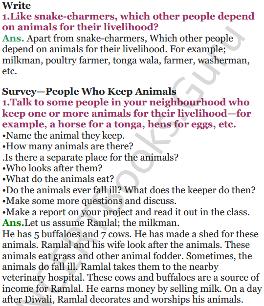 NCERT Solutions for Class 5 EVS Chapter 2 A Snake Charmer's Story 3