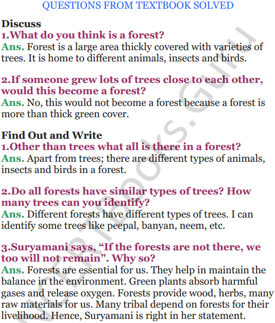 NCERT Solutions for Class 5 EVS Chapter 20 Whose Forests 1