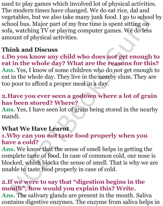 NCERT Solutions for Class 5 EVS Chapter 3 From Tasting To Digesting 10