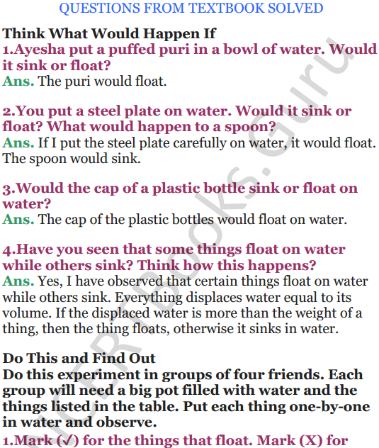 NCERT Solutions for Class 5 EVS Chapter 7 Experiments With Water 1
