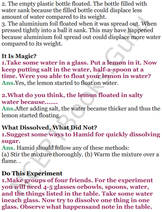NCERT Solutions for Class 5 EVS Chapter 7 Experiments With Water 3