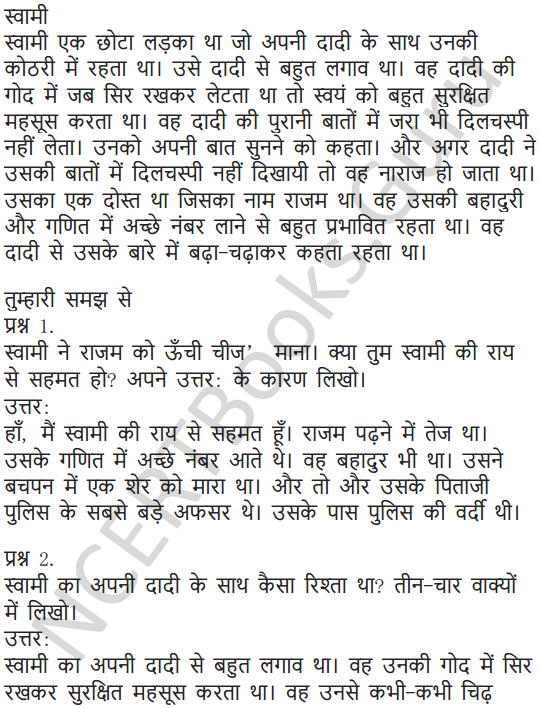 NCERT Solutions for Class 5 Hindi Chapter 13 स्वामी की दादी 2