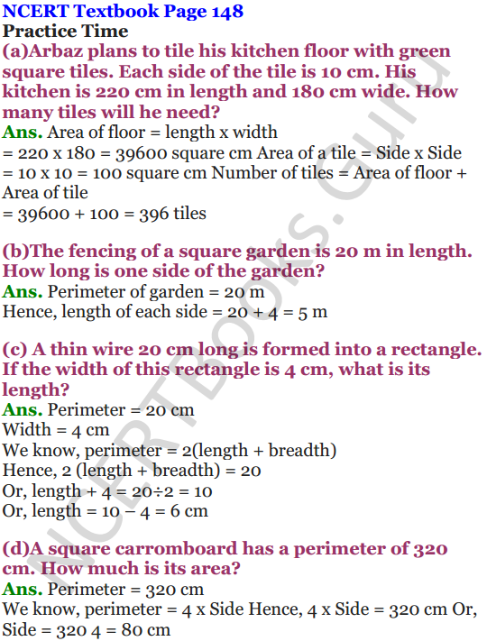 NCERT Solutions for Class 5 Maths Chapter 11 Area and Its Boundary 4