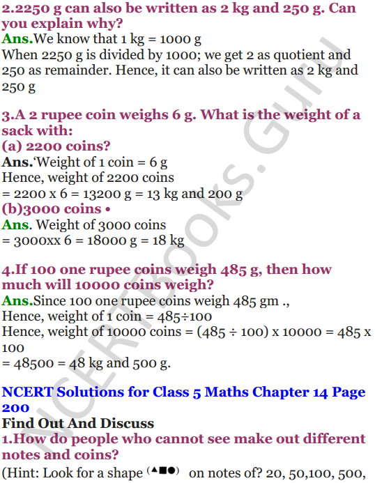 NCERT Solutions for Class 5 Maths Chapter 14 How Big How Heavy 14