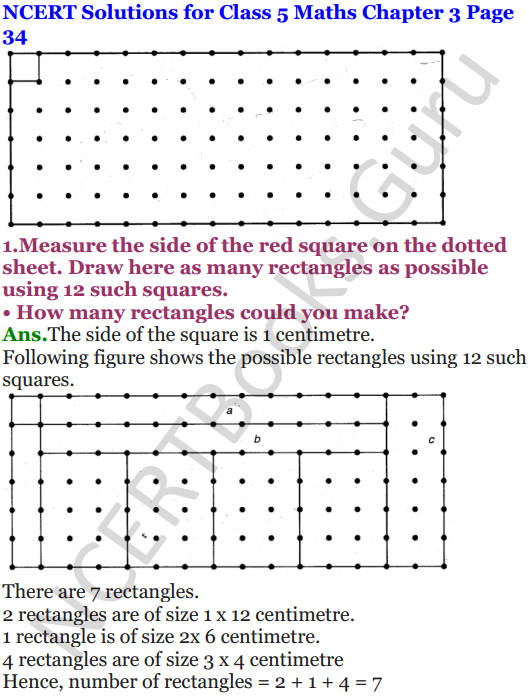 NCERT Solutions for Class 5 Maths Chapter 3 How Many Squares 1