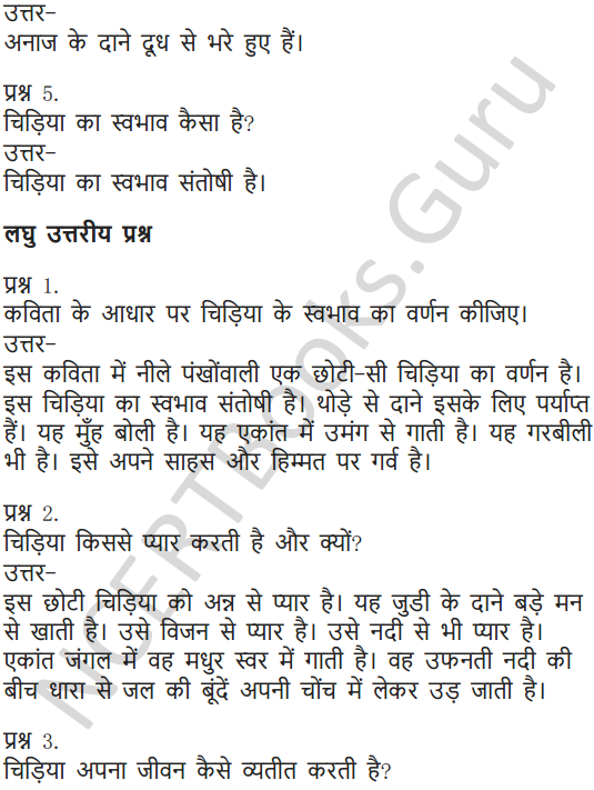 NCERT Solutions for Class 6 Hindi Chapter 1 वह चिड़िया जो 10