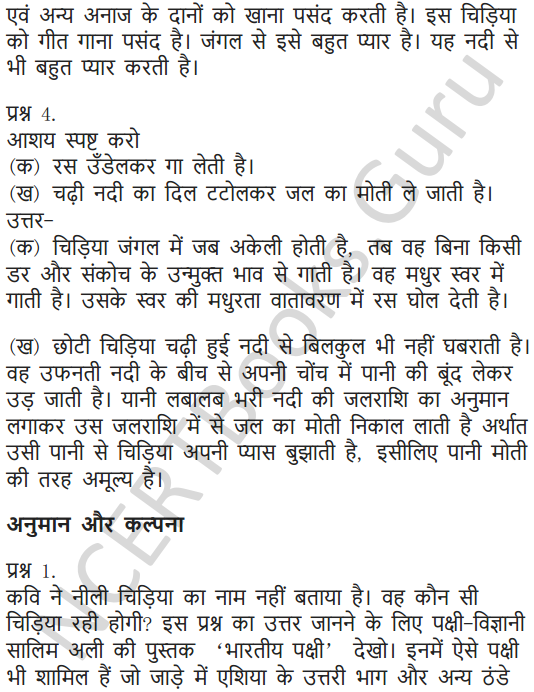 NCERT Solutions for Class 6 Hindi Chapter 1 वह चिड़िया जो 2