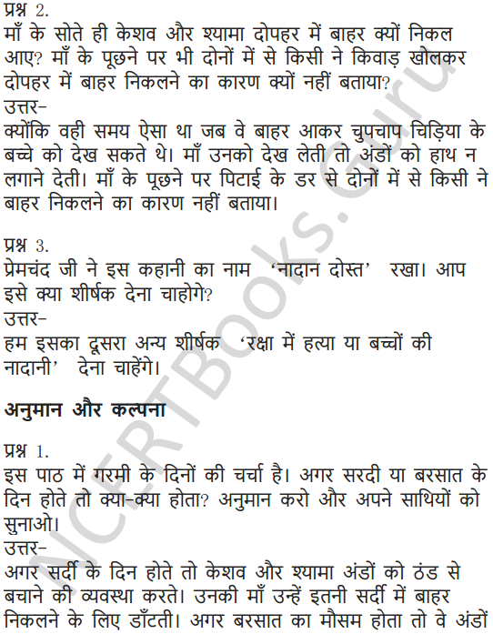 NCERT Solutions for Class 6 Hindi Chapter 3 नादान दोस्त 3