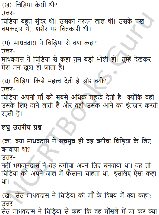 NCERT Solutions for Class 7 Hindi Chapter 9 चिड़िया की बच्ची 10