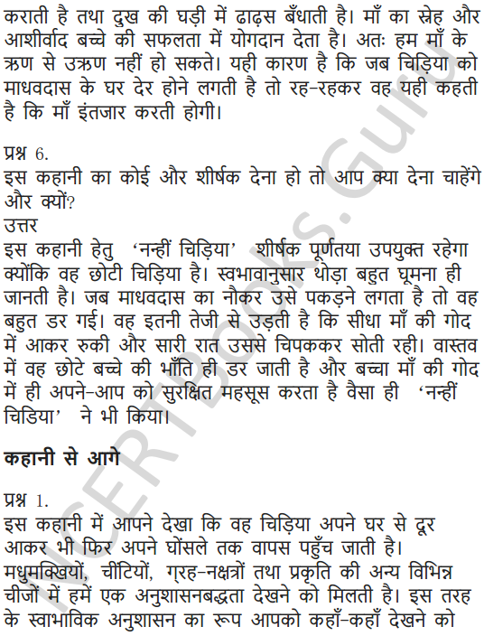 NCERT Solutions for Class 7 Hindi Chapter 9 चिड़िया की बच्ची 4