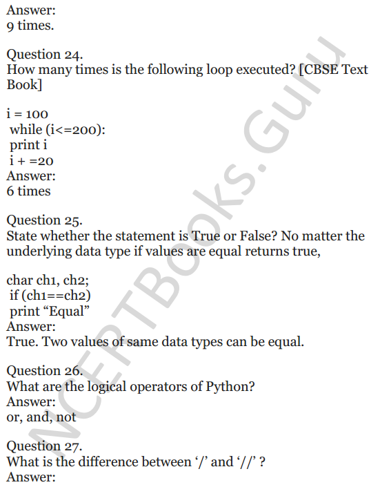 Important Questions for Class 12 Computer Science (Python) chapter - 1 – Review of Python 10