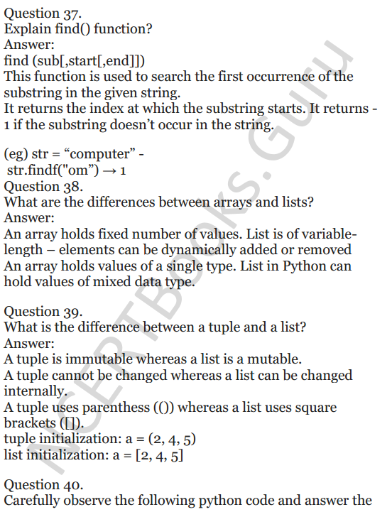 Important Questions for Class 12 Computer Science (Python) chapter - 1 – Review of Python 14