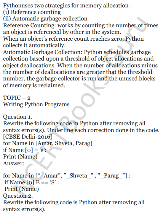 Important Questions for Class 12 Computer Science (Python) chapter - 1 – Review of Python 16