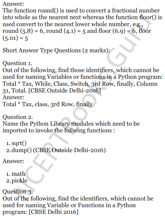 Important Questions for Class 12 Computer Science (Python) chapter - 1 – Review of Python 2