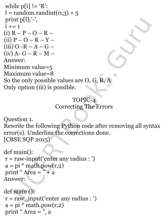Important Questions for Class 12 Computer Science (Python) chapter - 1 – Review of Python 34