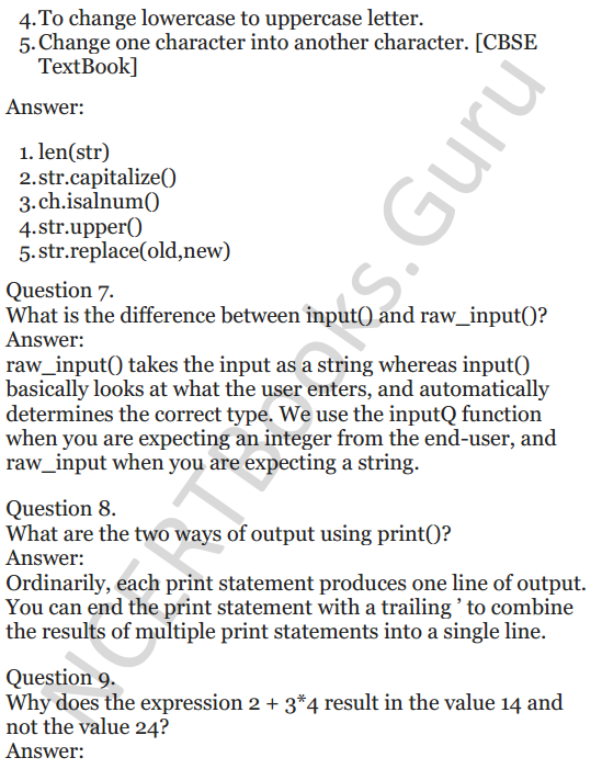 Important Questions for Class 12 Computer Science (Python) chapter - 1 – Review of Python 4