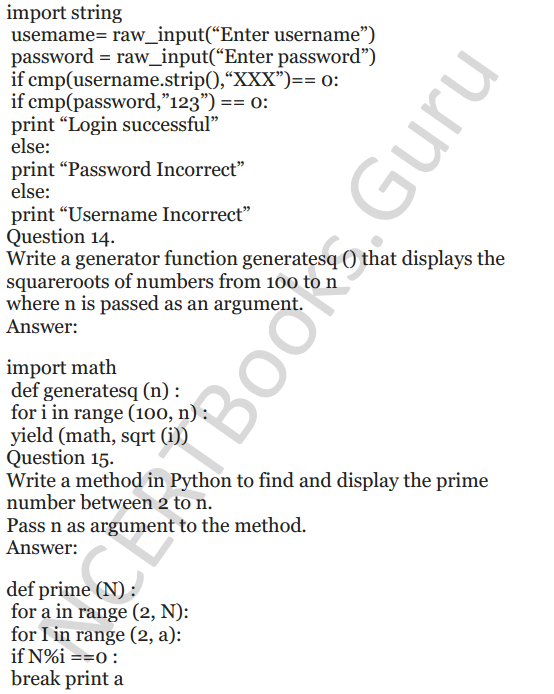 Important Questions for Class 12 Computer Science (Python) chapter - 1 – Review of Python 44