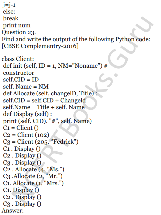 Important Questions for Class 12 Computer Science (Python) chapter - 1 – Review of Python 49