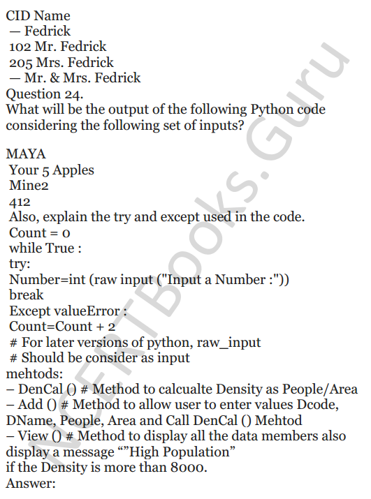 Important Questions for Class 12 Computer Science (Python) chapter - 1 – Review of Python 50