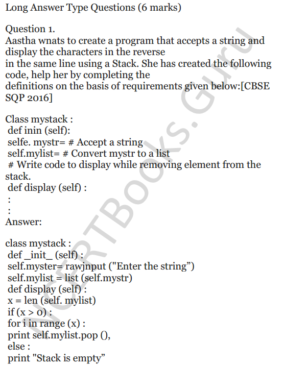 Important Questions for Class 12 Computer Science (Python) chapter - 1 – Review of Python 52