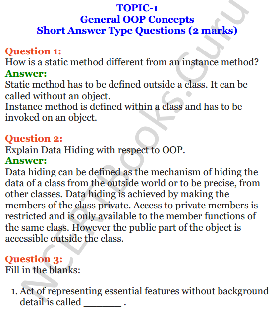 Important Questions for Class 12 Computer Science (Python) Chapter - 2 – Object Oriented Programming Concepts 1
