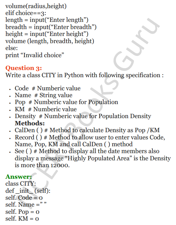 Important Questions for Class 12 Computer Science (Python) Chapter - 2 – Object Oriented Programming Concepts 13