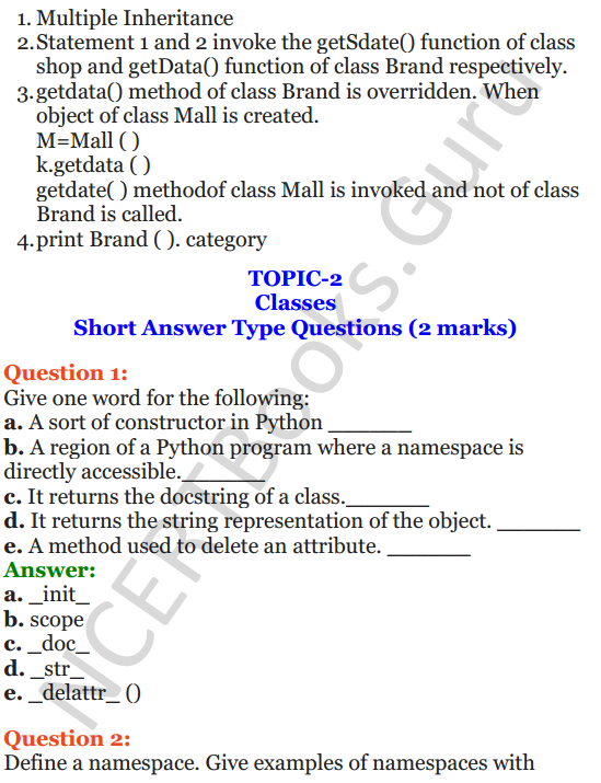 Important Questions for Class 12 Computer Science (Python) Chapter - 2 – Object Oriented Programming Concepts 16