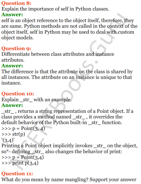 Important Questions for Class 12 Computer Science (Python) Chapter - 2 – Object Oriented Programming Concepts 19