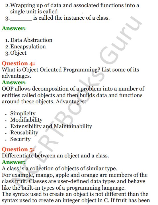 Important Questions for Class 12 Computer Science (Python) Chapter - 2 – Object Oriented Programming Concepts 2