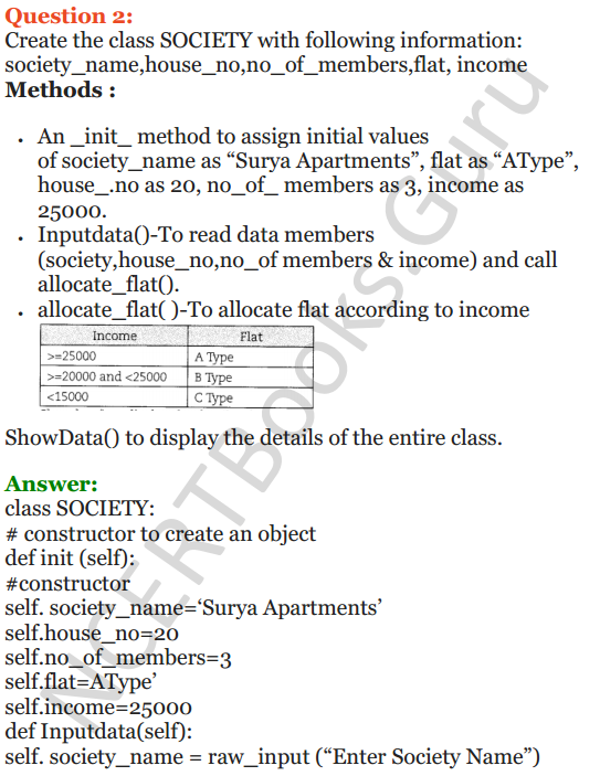 Important Questions for Class 12 Computer Science (Python) Chapter - 2 – Object Oriented Programming Concepts 27