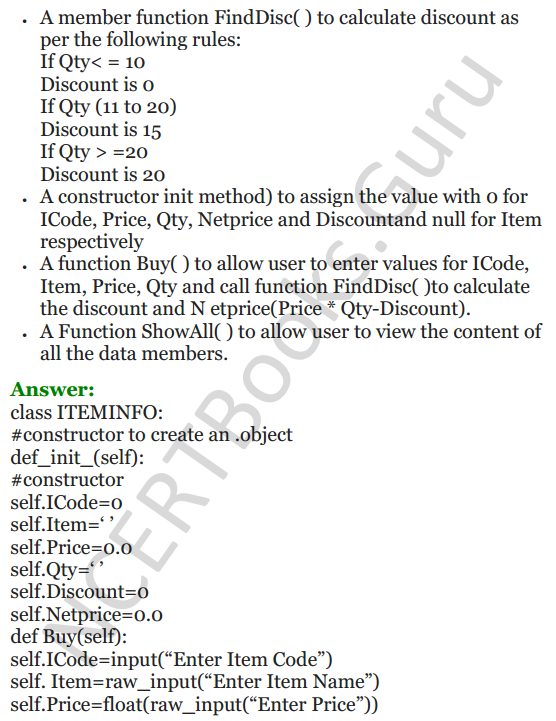 Important Questions for Class 12 Computer Science (Python) Chapter - 2 – Object Oriented Programming Concepts 29