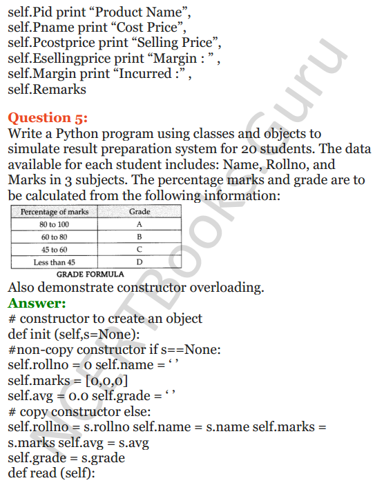 Important Questions for Class 12 Computer Science (Python) Chapter - 2 – Object Oriented Programming Concepts 33