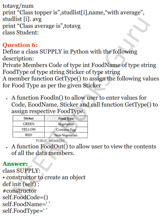 Important Questions for Class 12 Computer Science (Python) Chapter - 2 – Object Oriented Programming Concepts 35