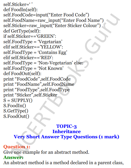 Important Questions for Class 12 Computer Science (Python) Chapter - 2 – Object Oriented Programming Concepts 36