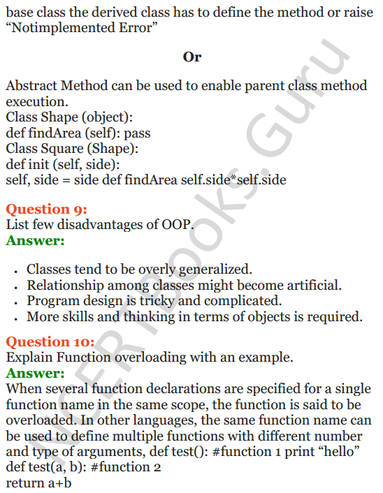 Important Questions for Class 12 Computer Science (Python) Chapter - 2 – Object Oriented Programming Concepts 4
