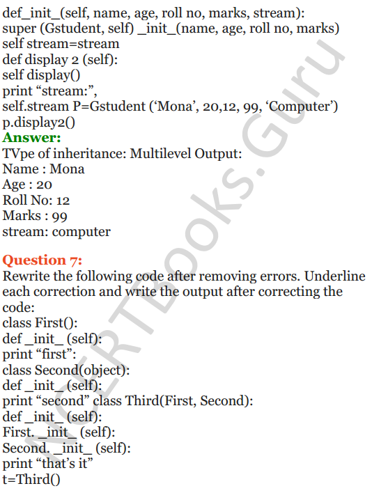 Important Questions for Class 12 Computer Science (Python) Chapter - 2 – Object Oriented Programming Concepts 41