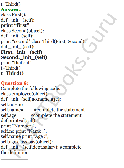 Important Questions for Class 12 Computer Science (Python) Chapter - 2 – Object Oriented Programming Concepts 42
