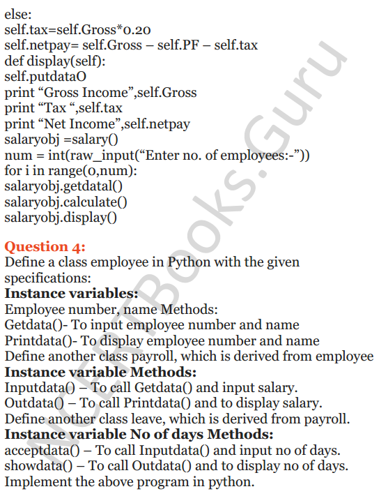 Important Questions for Class 12 Computer Science (Python) Chapter - 2 – Object Oriented Programming Concepts 49