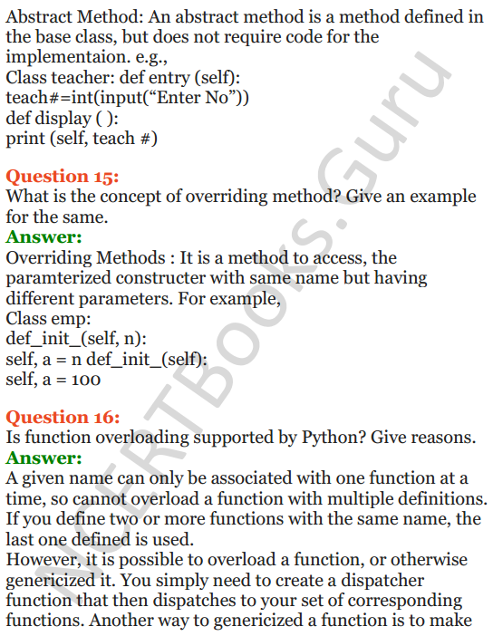 Important Questions for Class 12 Computer Science (Python) Chapter - 2 – Object Oriented Programming Concepts 7