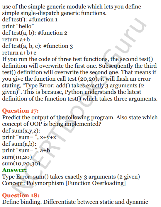 Important Questions for Class 12 Computer Science (Python) Chapter - 2 – Object Oriented Programming Concepts 8