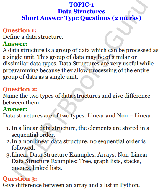 Important Questions for Class 12 Computer Science (Python) chapter - 3 – Lists Manipulation and Implementation 1