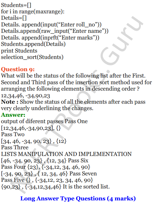 Important Questions for Class 12 Computer Science (Python) chapter - 3 – Lists Manipulation and Implementation 12
