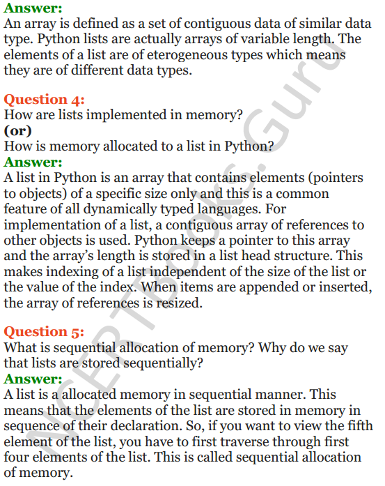Important Questions for Class 12 Computer Science (Python) chapter - 3 – Lists Manipulation and Implementation 2