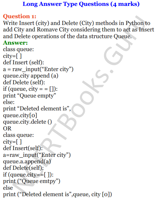 Important Questions for Class 12 Computer Science (Python) chapter - 3 – Lists Manipulation and Implementation 21