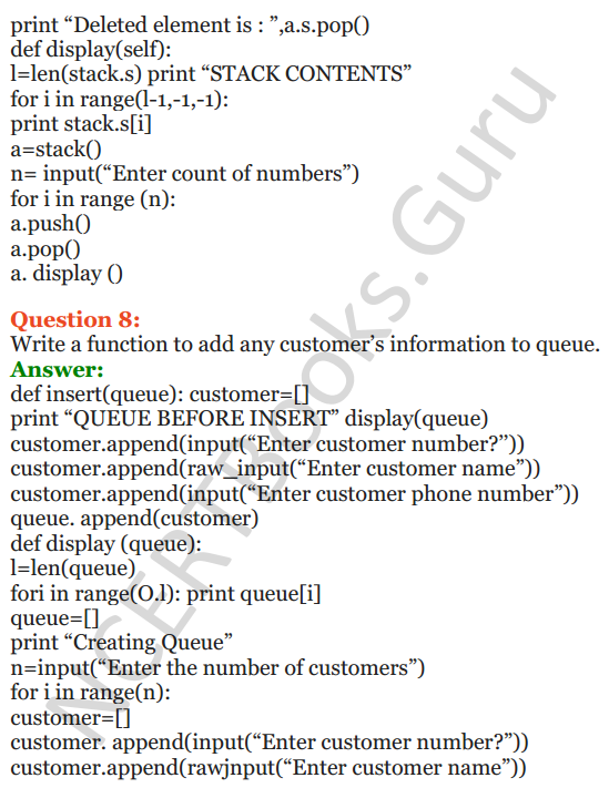 Important Questions for Class 12 Computer Science (Python) chapter - 3 – Lists Manipulation and Implementation 26